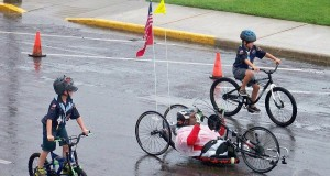 Toran Gaal gets a special escort during his Ride Across America -  photo courtesy of Ride Across America