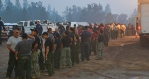 Firefighters lined up for morning chow