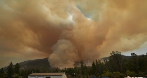 Smoke from the burnout of the Willow Fire from the Incident Command Post at noon on Saturday - photo by Gina Clugston