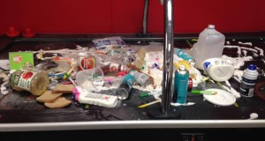 Mess on the air hockey table after break in at the church - courtesy YLP Community Church