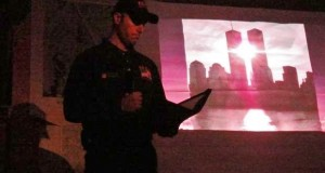 Ryan Traina FDNY fireman speaking at the Gasquet Complex Fire - photo USFS