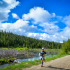 A runner at a Vacation Races event on a trail outside Yellowstone National Park