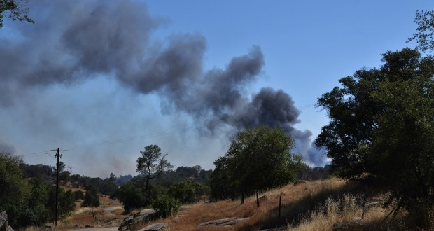 Black smoke from Spring Fire - photo by Gina Clugston