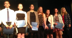 L-R Quentin Lawrence, Meagan Montalto, Mariah Garcia, Clara Briley, Allie Donnell, Mariah Avellana, and Sierra Tel's Laura Norman at the YHS Community Awards night 2016