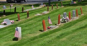 Flags in North Fork Cemetery Memorial Day 2016