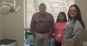 Dr. Bob Brosi on job shadow day with Evergreen HS students Daisy Bethel and Shylee Ramirez