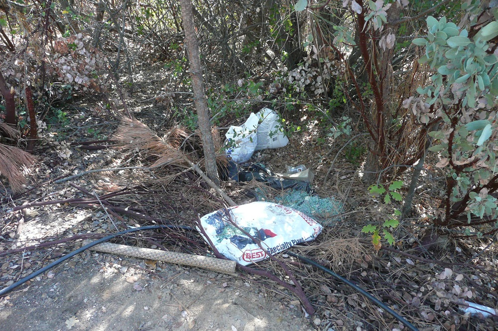 Illegal pot grow cleanup - trash includes fertilizer - photo courtesy SNAMP