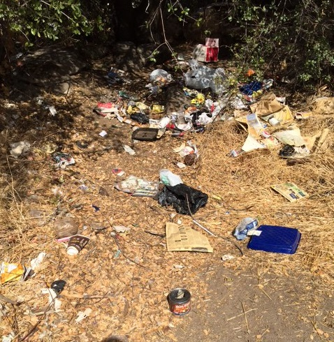 Trash on new cemetery property - photo Madera County Cemetery District