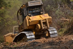 Cal Fire Dozer 4242 cuts fire line to tie in with Road 8S09 near Cascadel