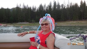 Carrol Murrel (mother of Laura Kirk) relaxes on Bass Lake - 4th of July 2015 - image courtesy of Kevin Kirk