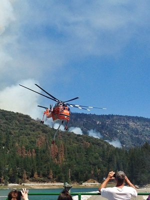Helicopter over the dam on Willow Fire - photo by Grace DeMasters