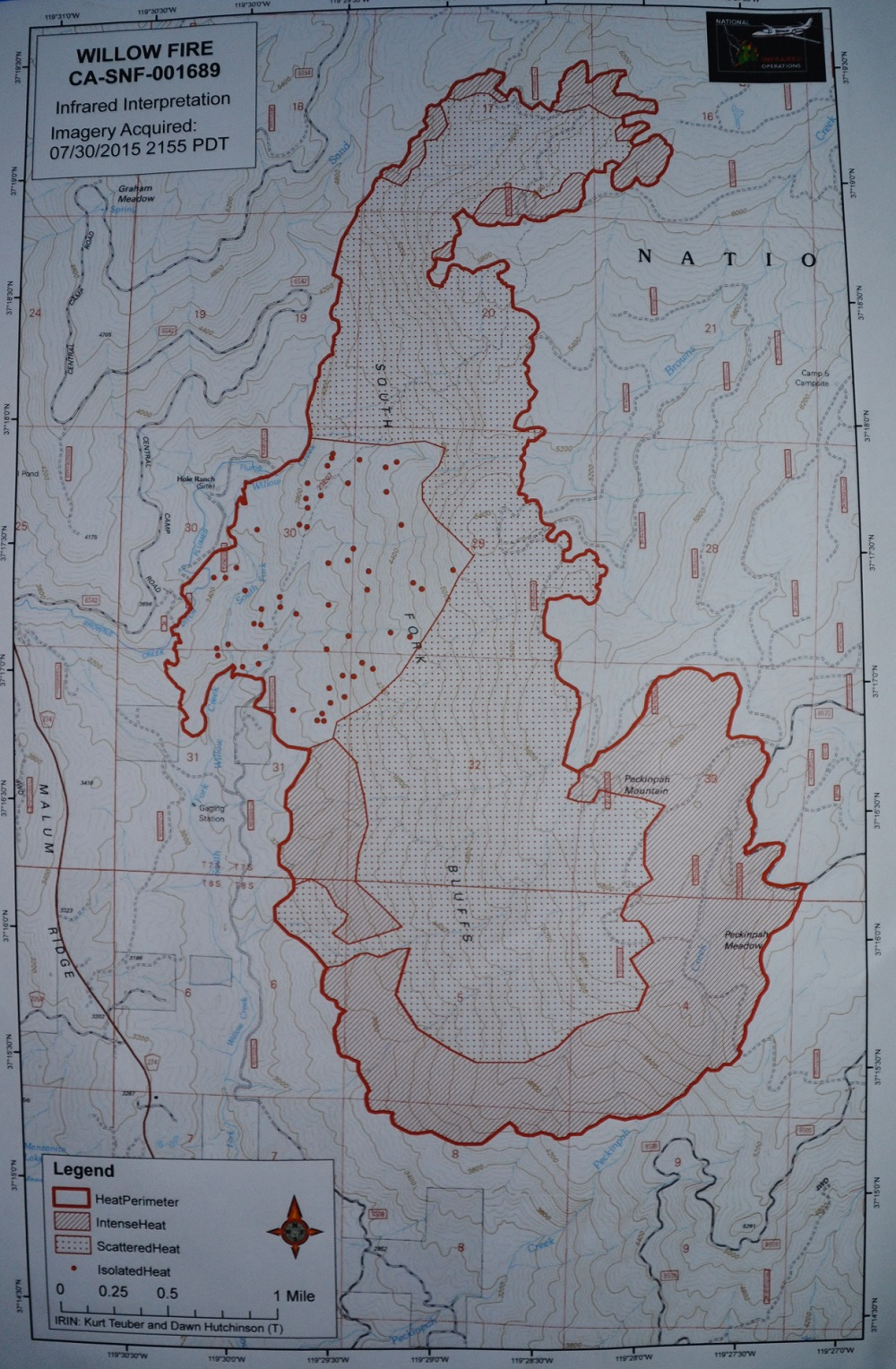 Infrared Map Willow Fire 7-31-15