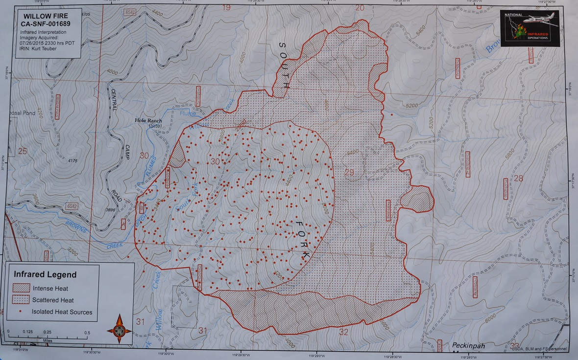 Infrared map Willow Fire 7-27-15