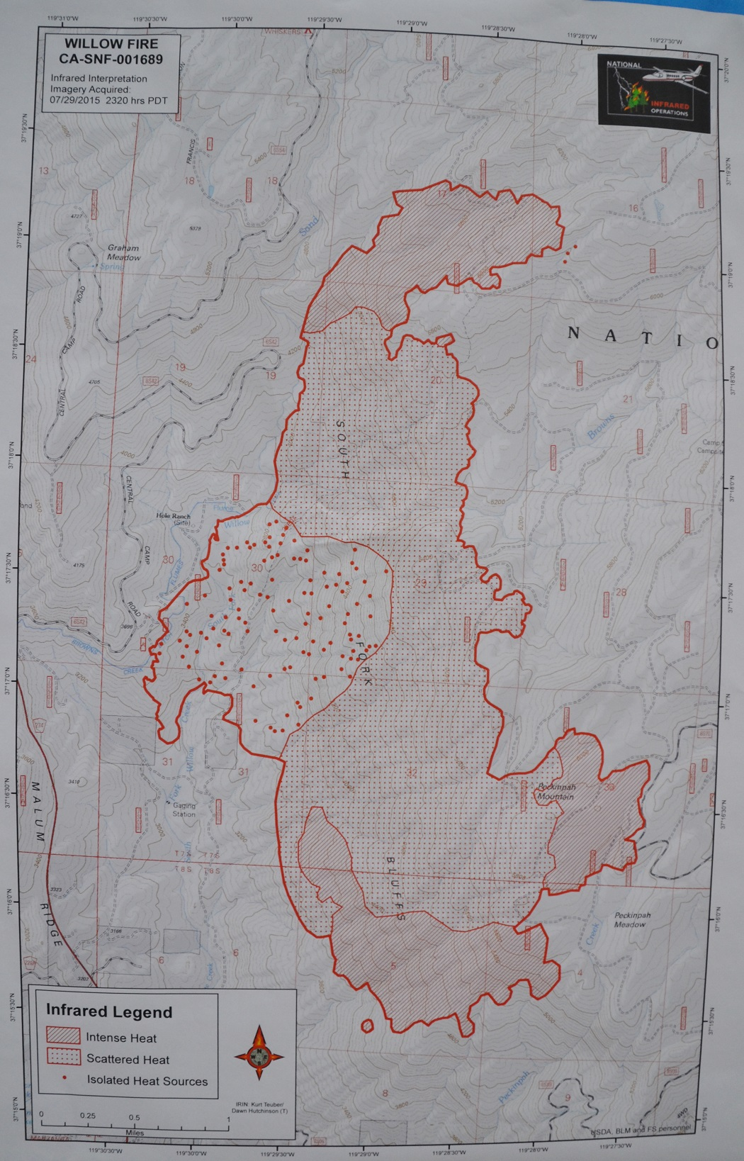 Infrared map Willow Fire 7-30-15