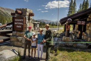July 28,  2015--Tioga Road Rededication Ceremony-- A ceremonial ribbon was cut to culminate the Tioga Road Rededication Ceremony. Yosemite National Park officials and Yosemite Conservancy staff were joined by Former First Lady and NPS Centennial Co-Chair Laura Bush for the historic ceremony conducted in the park's spectacular high country. Pictured (L to R): Yosemite Conservancy VP Jerry Edelbrock, Samantha Elliott, Former First Lady and NPS Centennial Co-Chair Laura Bush, and Yosemite National Park Superintendent Don Neubacher. Photo by Al Golub/Yosemite Conservancy.