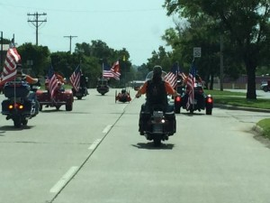 Toran Gaal gets an escort during his Ride Across America - American Legion Post 170 -  photo courtesy of Ride Across America