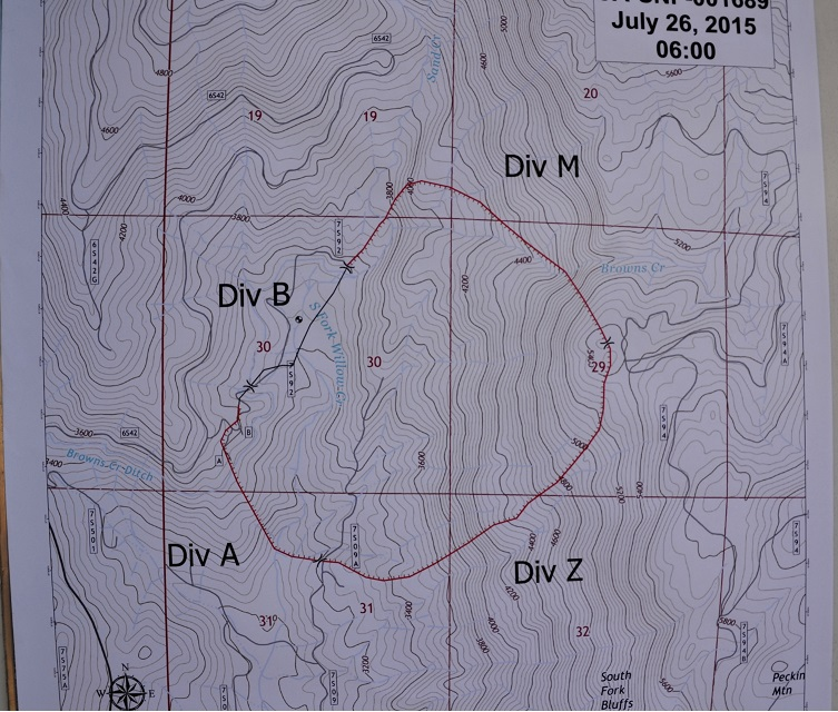 Willow Fire map 7-26-15 evening briefing