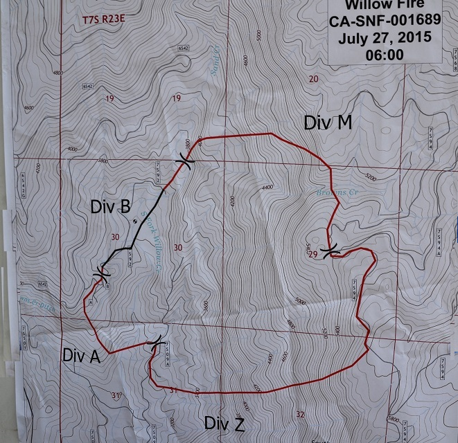 Willow Fire perimater map 7-27-15 evening briefing