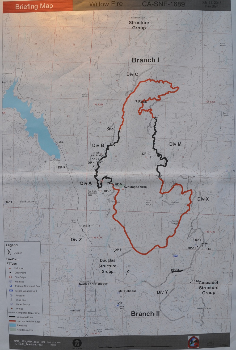 Willow Fire perimeter Map 7-31-15