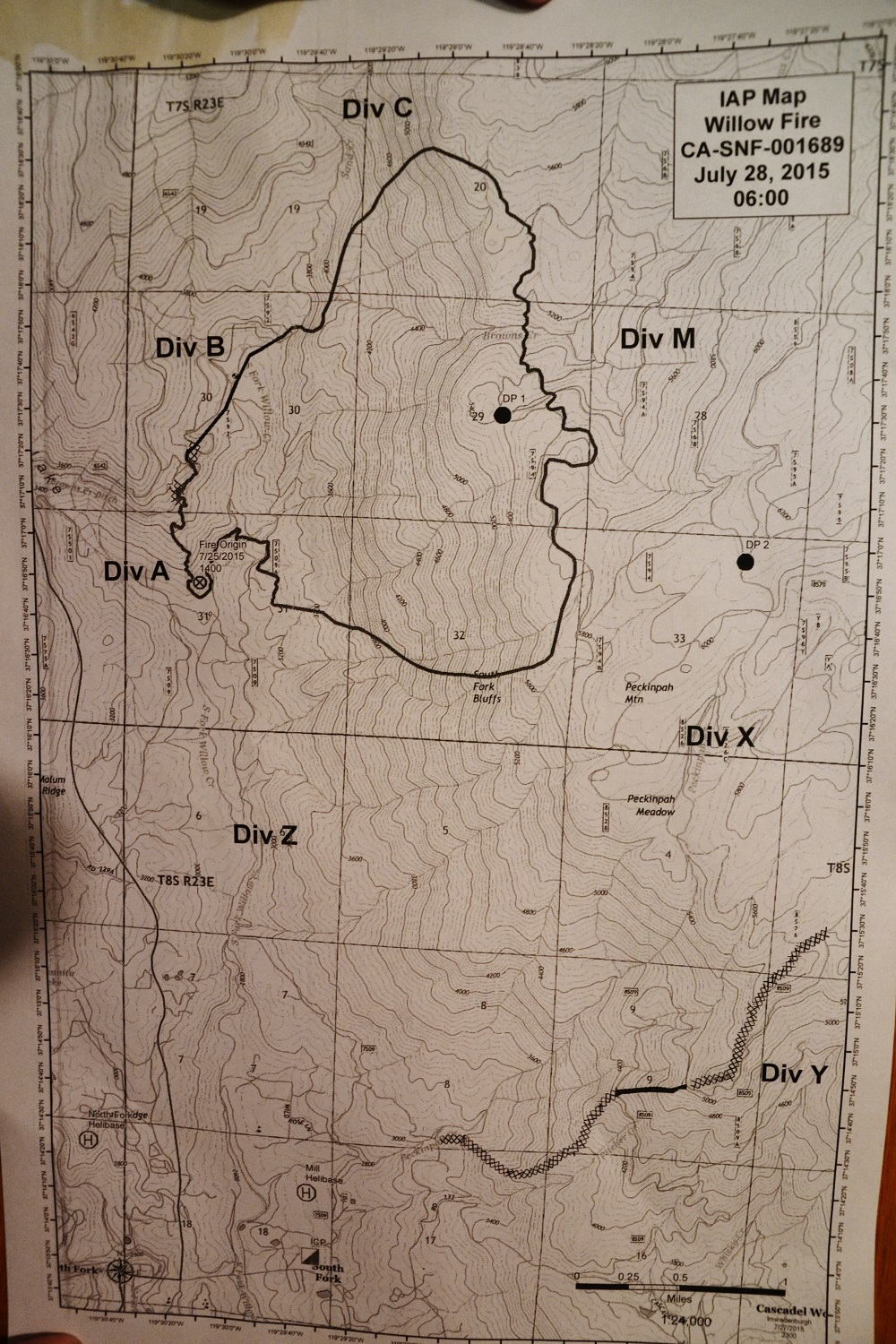 Willow Fire perimeter map 7-28-15 6 a.m.
