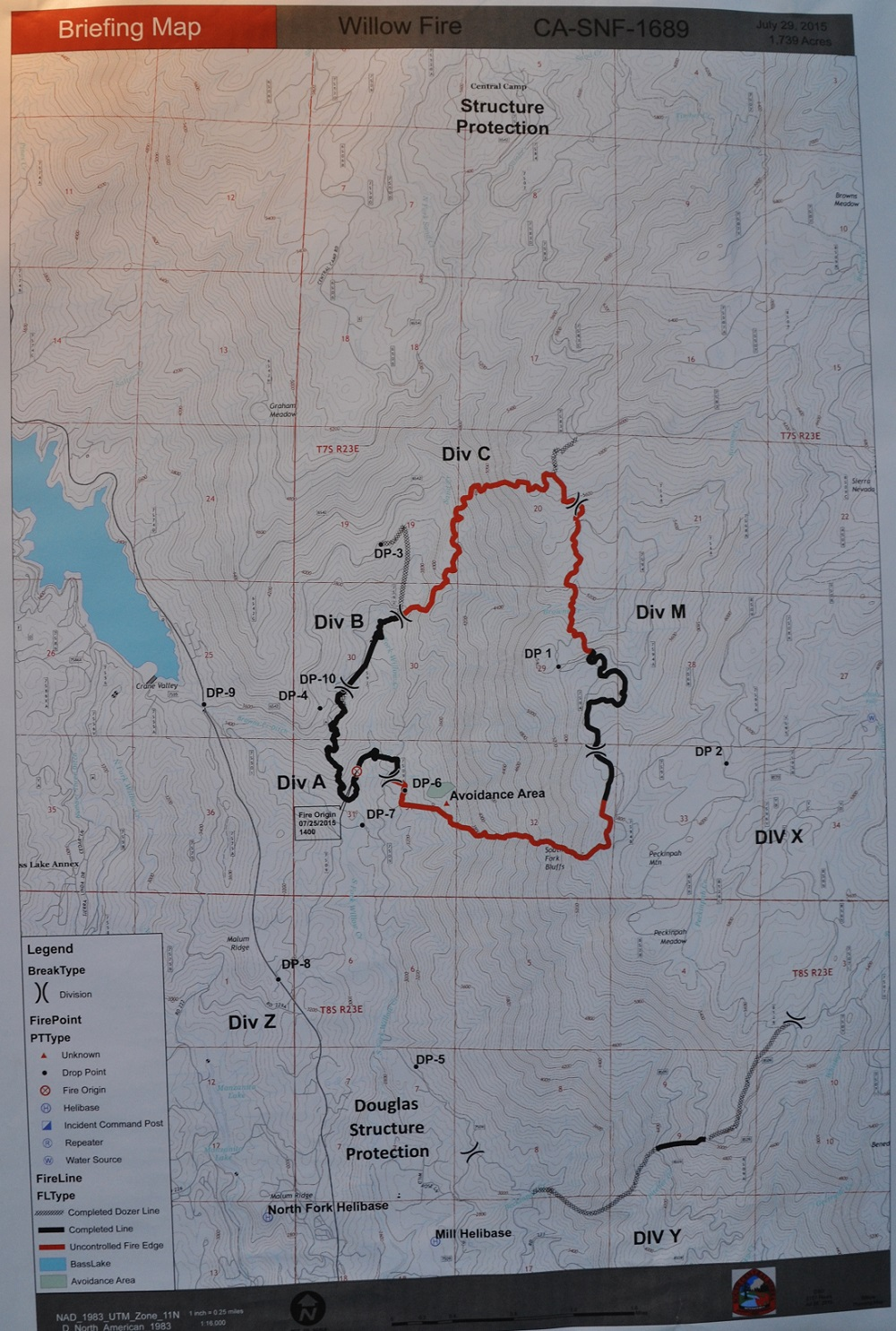Willow Fire perimeter map 7-29-15 morning briefing