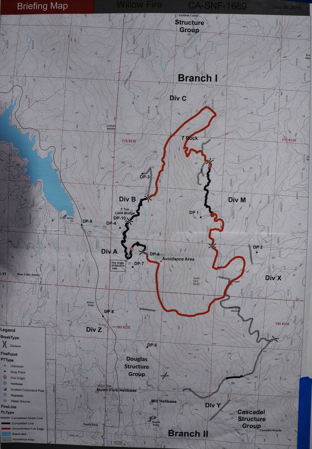 Willow Fire perimeter map 7 30 15 morning briefing |