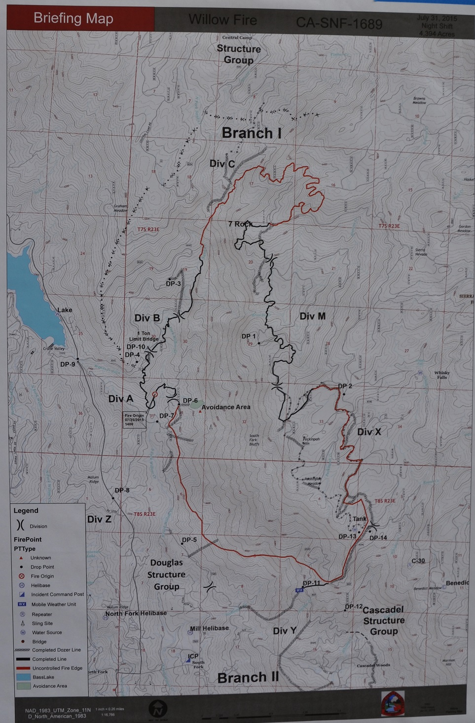Willow Fire perimeter map 7-31-15 6 p.m.