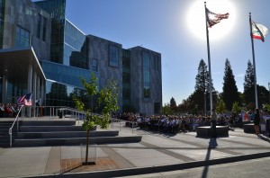 Crowd gathered for Madera County Courthouse ribbon cutting