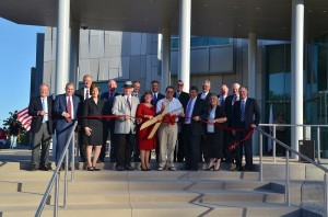 Dignitaries cut the ribbon on the Madera County Courthouse