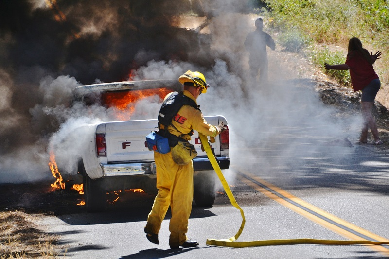 Engine 4255 firefighters tackle vehicle fire on Road 226