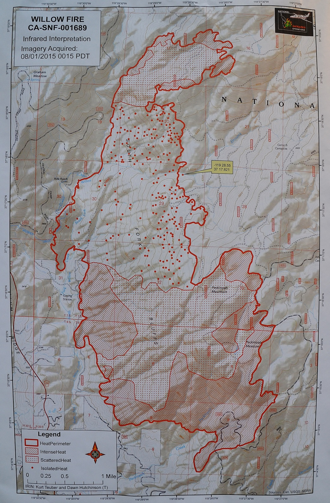 Infrared map Willow Fire 8-1-15