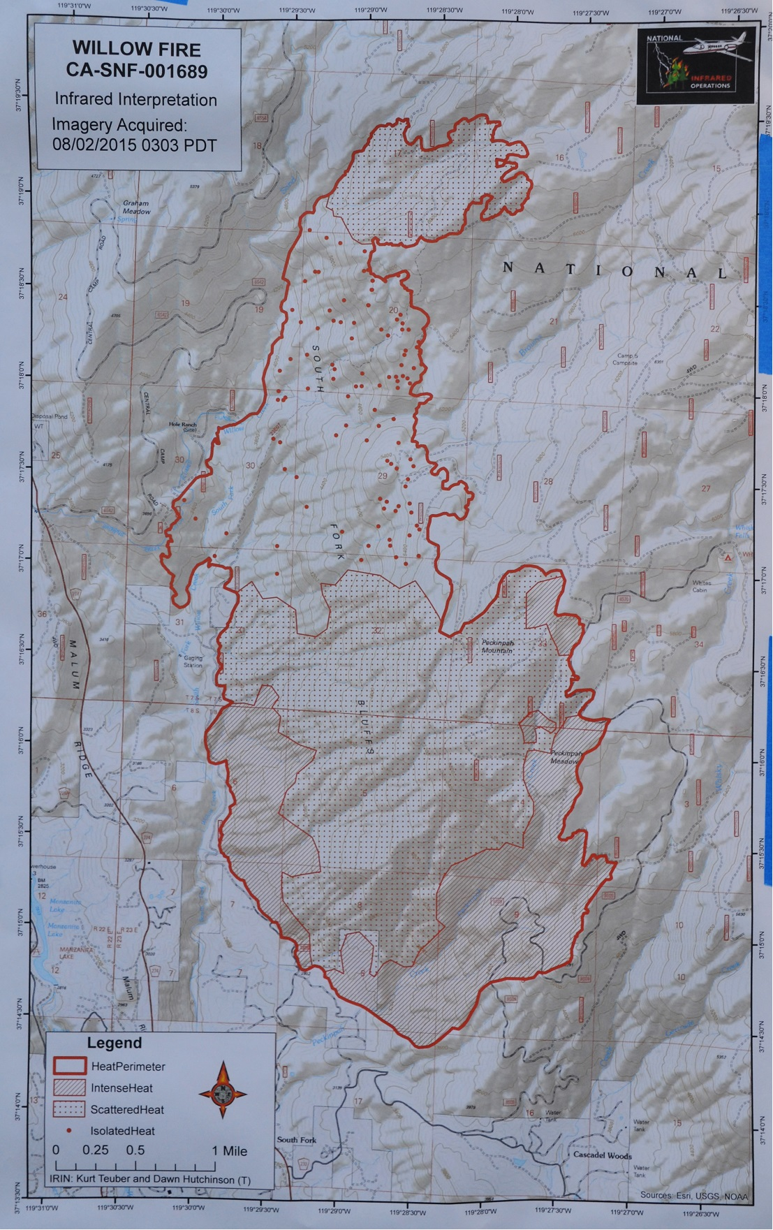 Infrared map Willow Fire 8-2-15