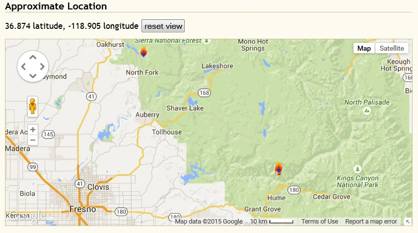 Rough Fire burning just north of Hume, Calif., near Kings River canyon.
