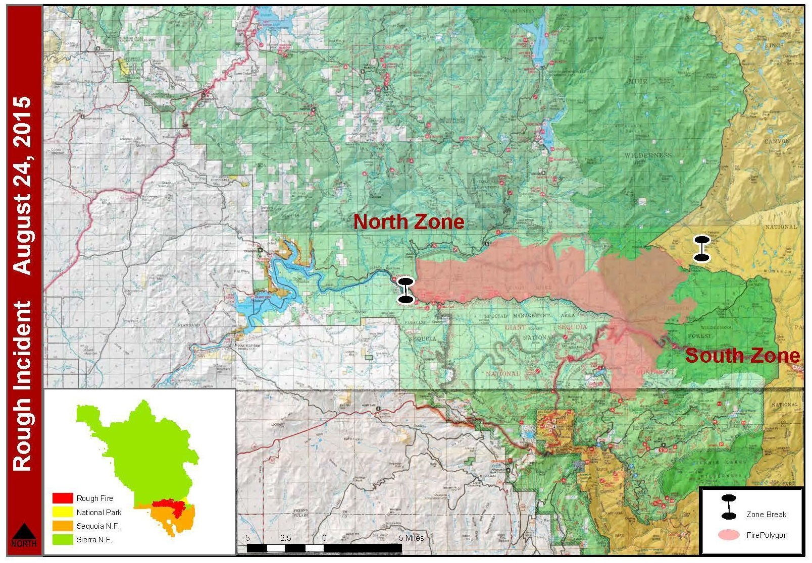 Rough Fire perimeter map 8-24-15