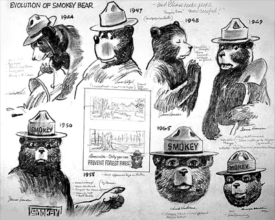 Smokey Bear images over the years - courtesy USFS