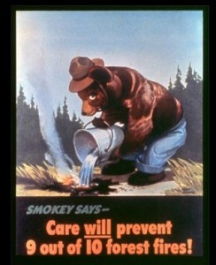 Smokey's debut poster was released on August 9, 1944, which is considered his anniversary date - image USFS