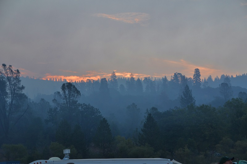 Sunrise over the Incident Command Post on the Willow Fire Sunday Aug. 2