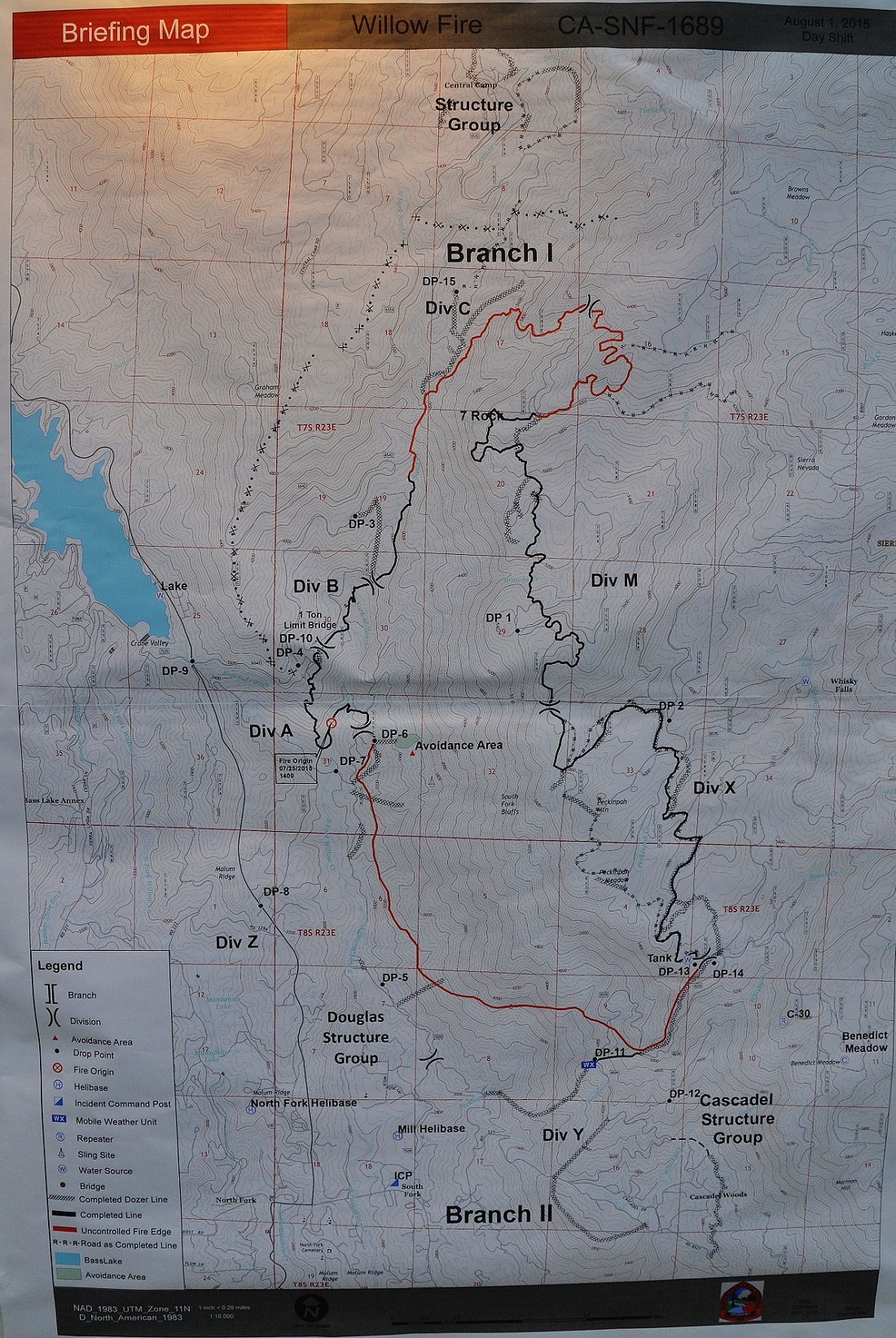 Willow Fire perimeter map 8-1-15 6 am