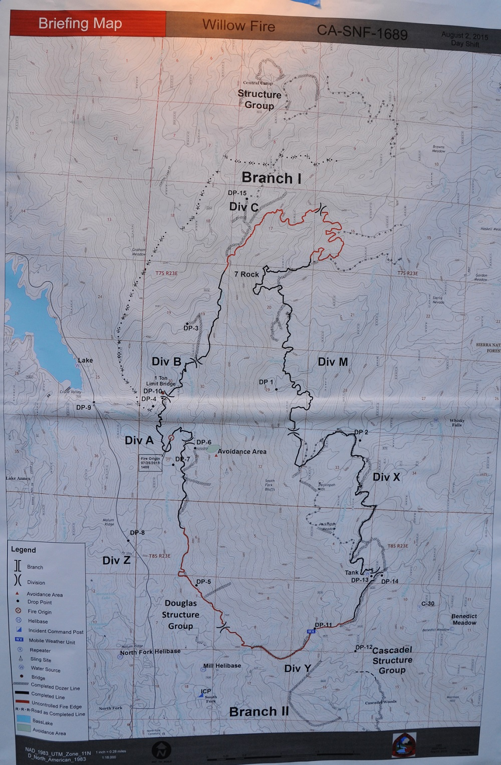 Willow Fire perimeter map 8-2-15 6 am