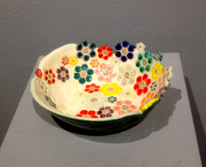 David Caris flower plate in clay