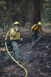 Firefighters doing mopup on Rough Fire - photo SNF