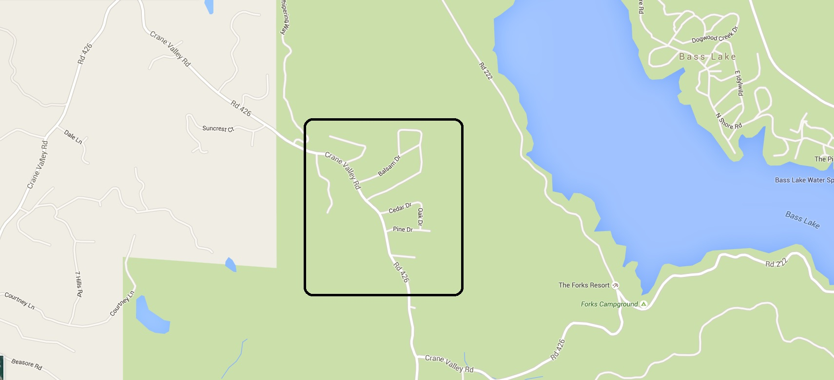 Map of Bass Lake Heights