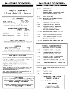 Mariposa County Fair events schedule page 1 2015