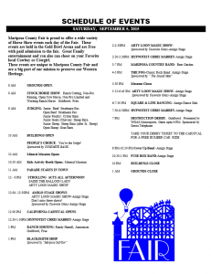 Mariposa County Fair events schedule page 2 2015