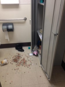 Pennies strewn on the floor after break-in at YLP church - photo courtesy of YLP Community Church