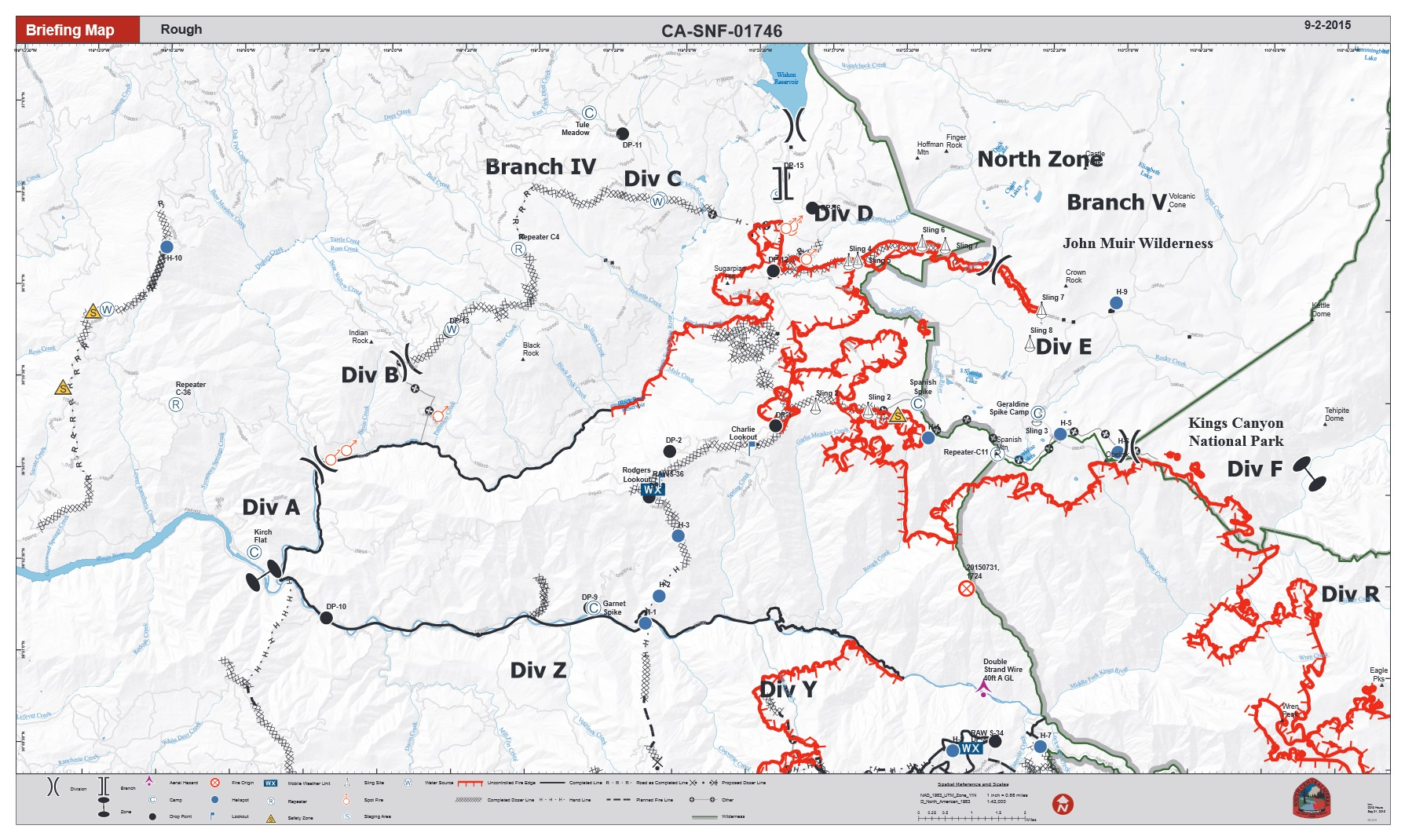 Rough Fire briefing map northern half 9-2-15