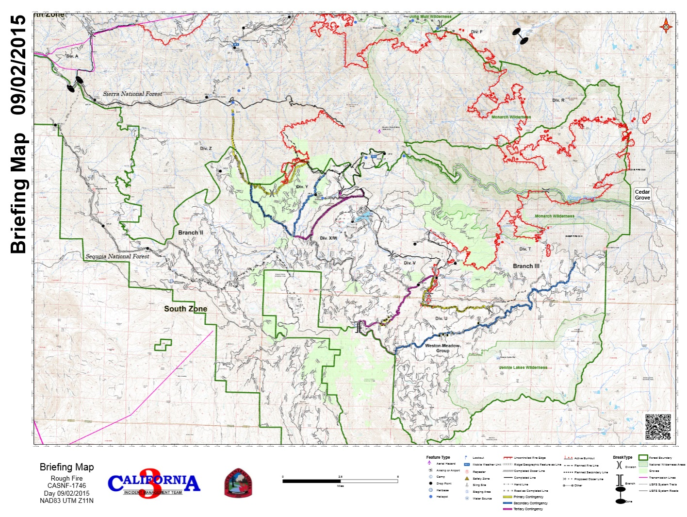 Rough fire briefing map southern half 9-2-15