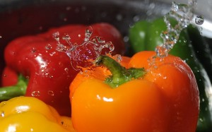 Washing_bell_peppers- By U S  Air Force photo by Airman 1st Class Levin Boland Public domain via Wikimedia Commons