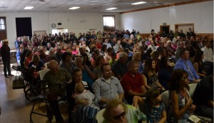 Crowd at the Town Hall for Frank Verduzco's memorial