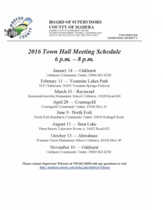 2016 Town Hall Meeting Schedule Madera County Supervisors
